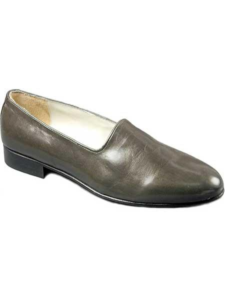 Mens genuine leather sole gray with fine skin upper classic loafer