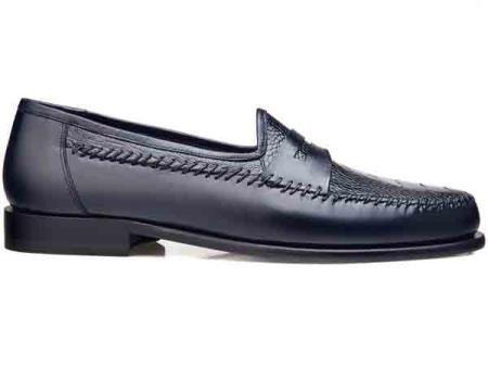 Mens  Genuine Ostrich Italian Calf Slip On Exotic Skin Shoes