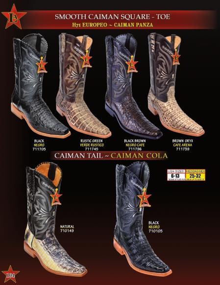 Mens Genuine Smooth Caiman/TaCowboy Western Boots Diff. Colors