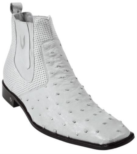 Mens Genuine White Full Quill Ostrich Dressy Boot 417