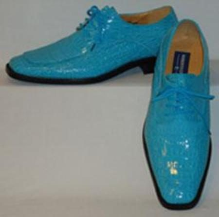 Mens gorgeous shiny turquoise blue faux croco dress shoes