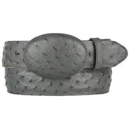 Mens gray original ostrich full quill skin western style belt