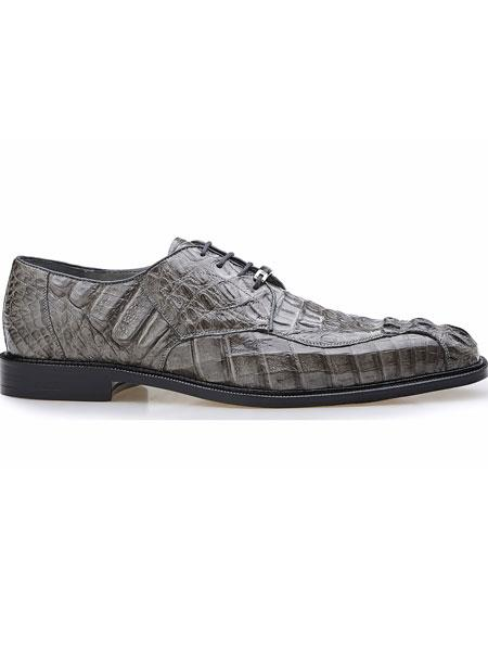 Mens Grey Genuine Hornback Crocodile Leather Lining Chapo Lace Shoes