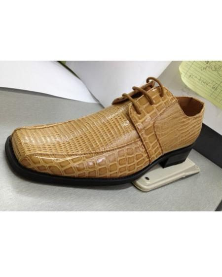 Mens High Quality animalalligator Print Dress Shoes Tan ~ Beige
