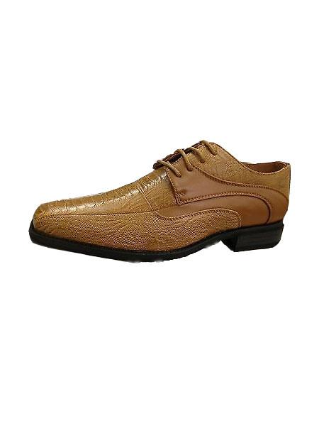 Mens high quality fashion dress shoes snake pattern light brown