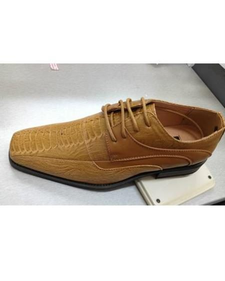 Mens High Quality Fashion Dress Shoes Snake Pattern Tan ~ beigebrown