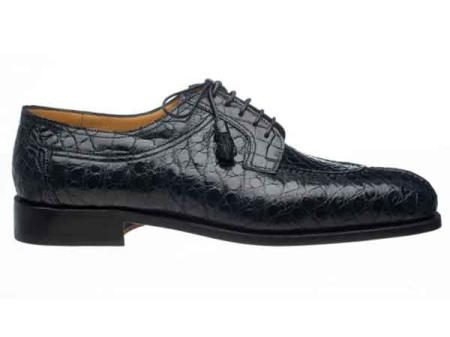 Mens Italian Lace Up Style Split Toe Alligator Belly Shoes Navy
