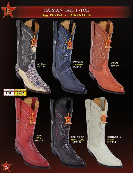 Mens J Toe Genuine Caiman TaCowboy Western Boots Diff. Colors