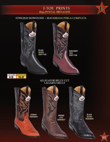 Mens JToe Stingray Alligator Print Cowboy Western Boots Diff. Colors