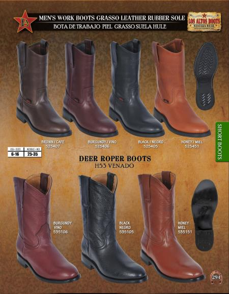 Mens Leather and Deer Roper Work Short Boots Diff. Colors/Sizes