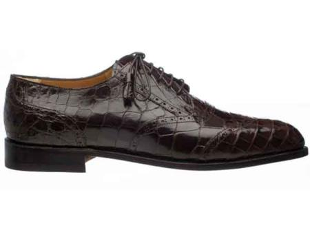 Mens Leather Sole And Heel Italian Lace Up Chocolate Alligator Belly Wing Tip Shoes