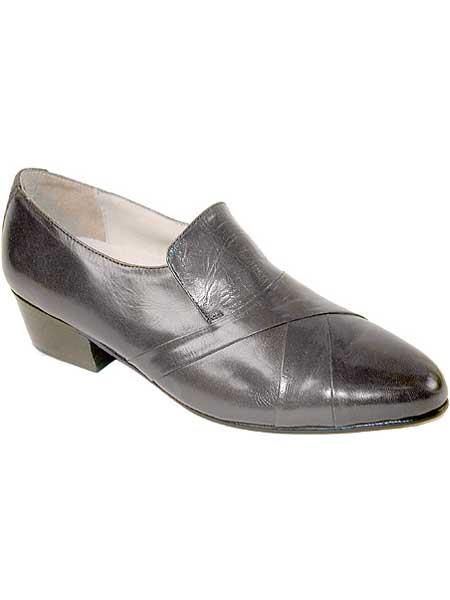 Mens leather sole hand pleated vamp with cuban heel shoes gray