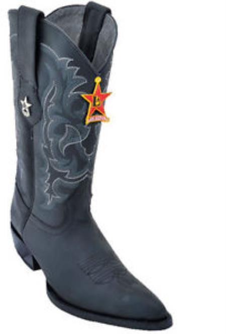 Mens Los Altos Crazy Black Cowboy Western Boot Leather JToe