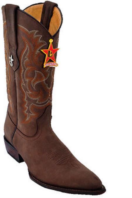 Mens Los Altos Crazy Brown Cowboy Western Boot Leather JToe