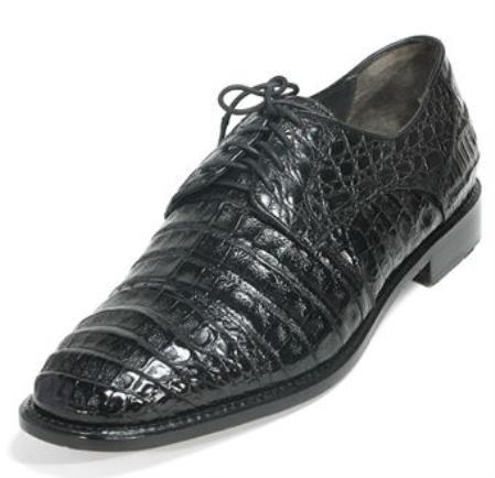 Mens Los Altos Genuine Caiman Belly Cap Toe Black Shoes