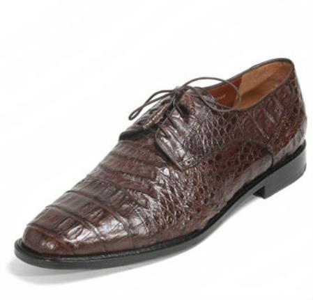 Mens Los Altos Genuine Caiman Belly Five Eyelet Laces Brown Shoes