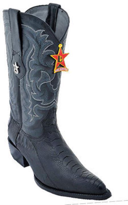 Mens Los Altos Ostrich Leg Black Cowboy Western Boot Leather JToe