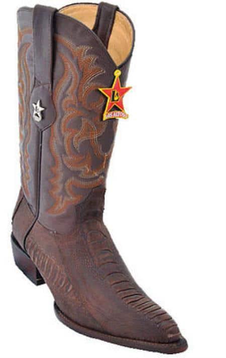 Mens Los Altos Ostrich Leg Brown Cowboy Western Boot Leather JToe