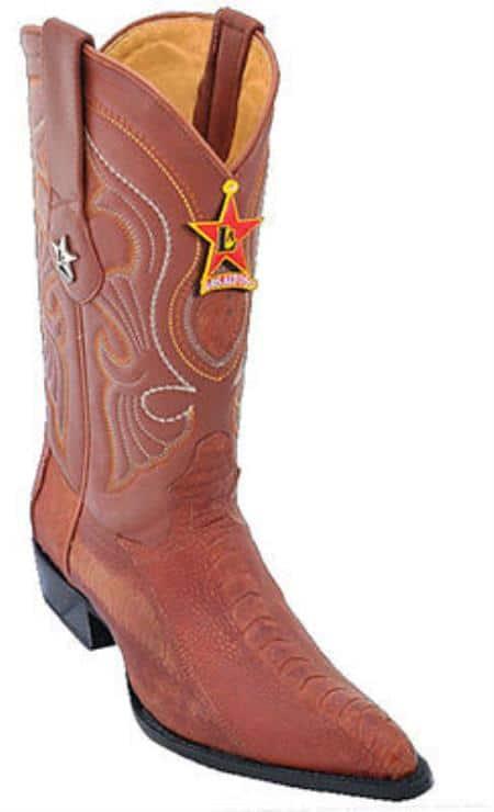 Mens Los Altos Ostrich Leg Cognac Cowboy Western Boot Leather JToe