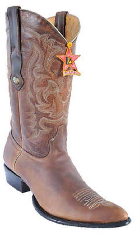 Mens Los Altos Rage W/Medallion Walnut Cowboy Western Boot Leather JToe Brown