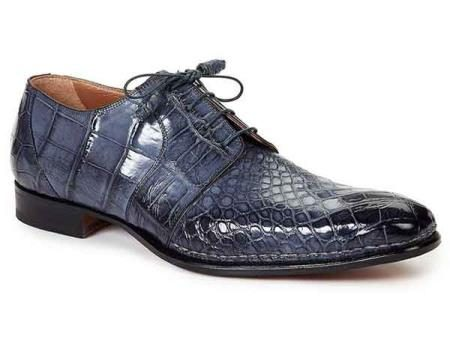 Mens Mauri Italy Alligator Skin Italian Lace Up Dress Shoes Balzac Charcoal