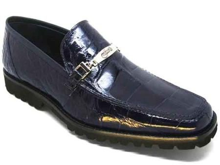 Mens Mauri Spada Shoes Italy Navy Slip-On Alligator Casual Loafers