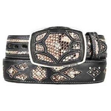 Mens natural original python skin fashion western belt