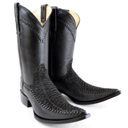 Mens New Reg:$795 discounted sale clearance diamond Boots Original Black Deer Skin And Bull Neck 3X-Toe Boots