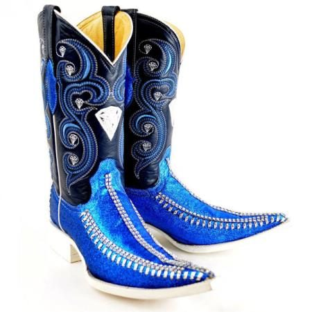 Mens New Reg:$795 discounted sale clearance diamonds Boots Original Blue Leather 3x-Toe Rhinestone Fashion Boots