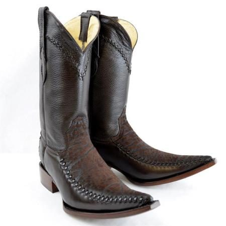 Mens New Reg:$795 discounted sale clearance diamonds Boots Original Brown Deer Skin And Bull Neck 3x-Toe Boots