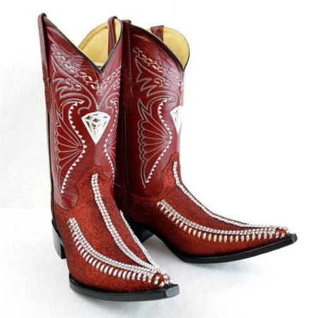 Mens New Reg:$795 discounted sale clearance diamonds Boots Original Red Leather 3x-Toe Rhinestone Fashion Boots