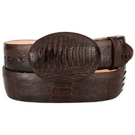 Mens original ostrich leg skin western style hand crafted belt brown