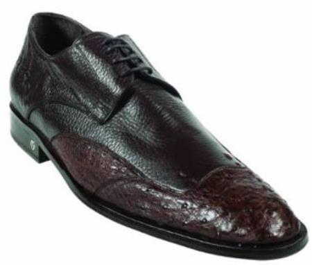 Mens Ostrich Full Quill Skin Brown Dress Shoe