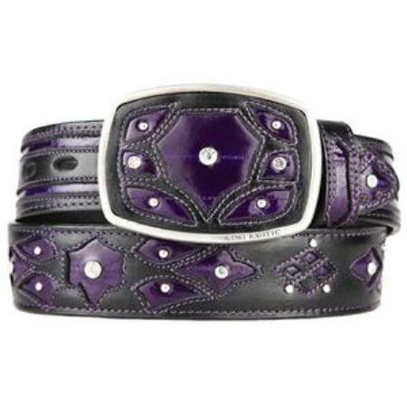 Mens purple original eel skin fashion western belt