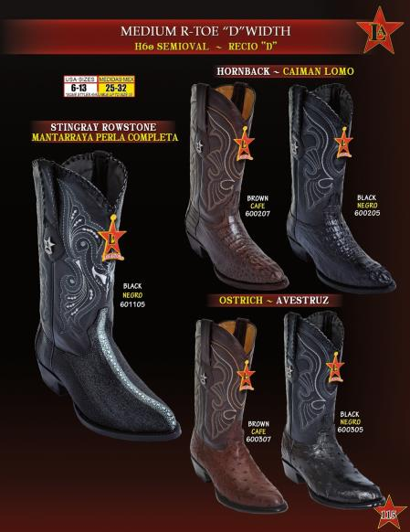 Mens R Toe Genuine Stingray/Caiman/Ostrich Cowboy Western Boots