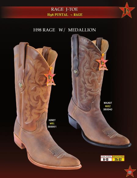 Mens Rage Leather w/ Medallion Cowboy Western Boots Diff. Colors