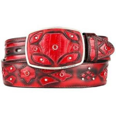 Mens red original eel skin fashion western belt