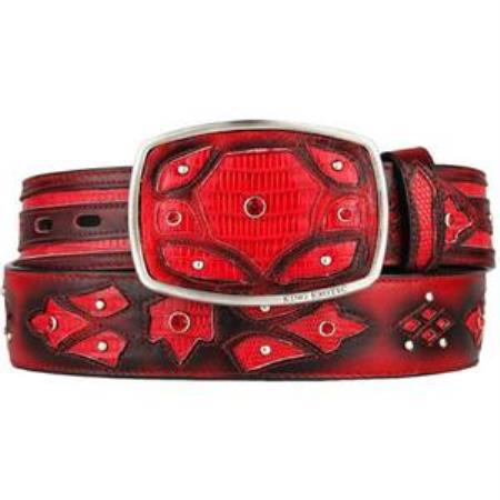 Mens red original lizard teju skin fashion western belt