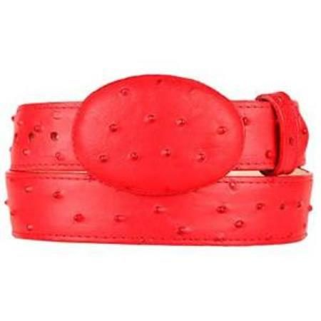 Mens red ostrich print western style belt
