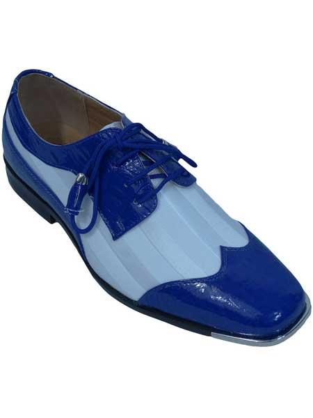 Mens royal/white two toned oxfords lace up satin striped dress shoes