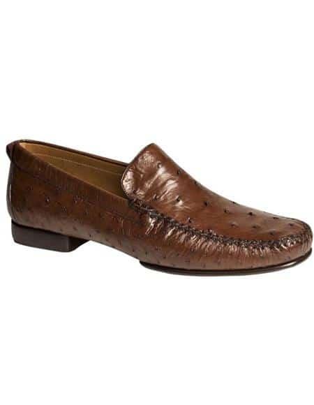 Mezlan Brand Mezlan Men's Dress Shoes Sale Men's Sport Brown Ostrich Skin Shoes