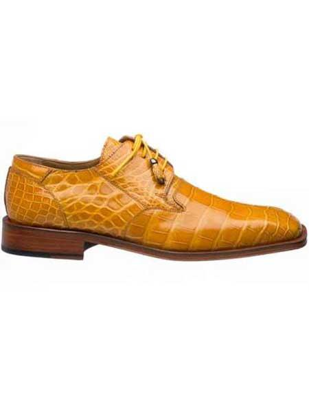 Mens Square Toe Tournesol Gold Alligator Skin Italian Lace Up Design Shoes