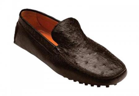 Mens Tom Brown Genuine Ostrich / Calf Shoes
