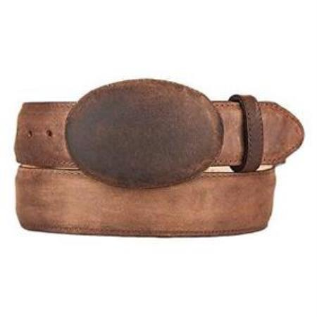 Mens walnut original leather western style belt