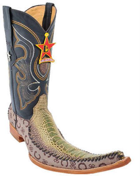 Mens Western Cowboy Boots Los Altos Genuine Ostrich Leg Fashion Rustic Green