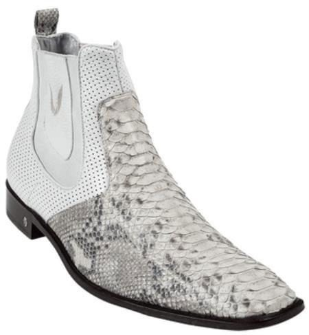 Mens White Genuine Python Dressy Boot 317