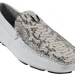 Mens White Genuine Python Drivers 277