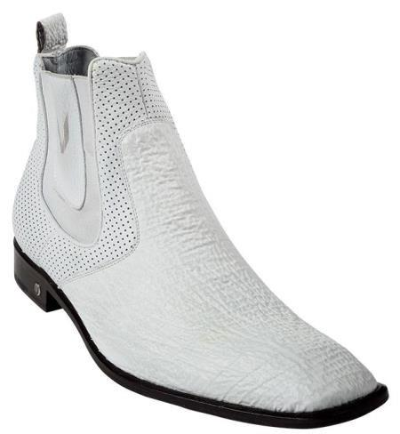 Mens White Genuine Shark Dressy Boot 317