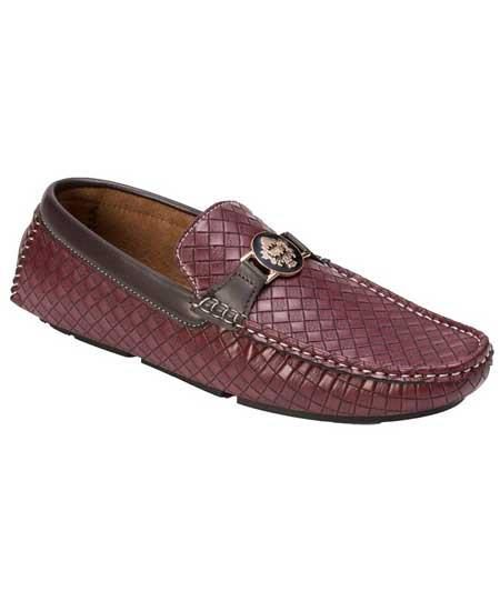 Mens woven style casual driver burgundy shoes with metal emblem