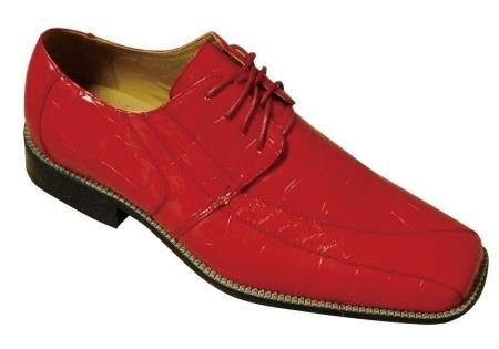 Menss Fashion Oxford Faux crocembossed Leather Dress Shoes Red